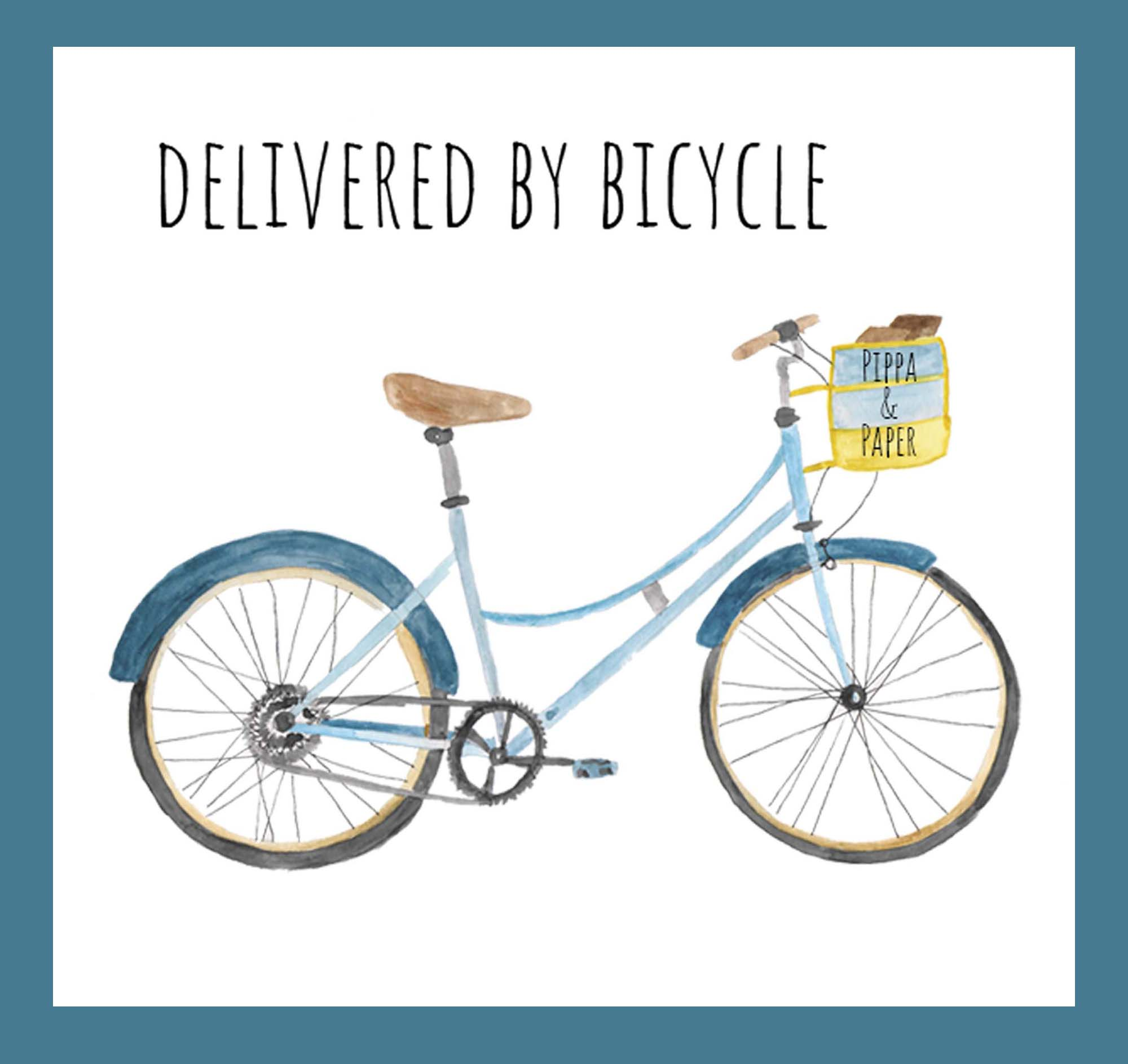 Delivered by bicycle.